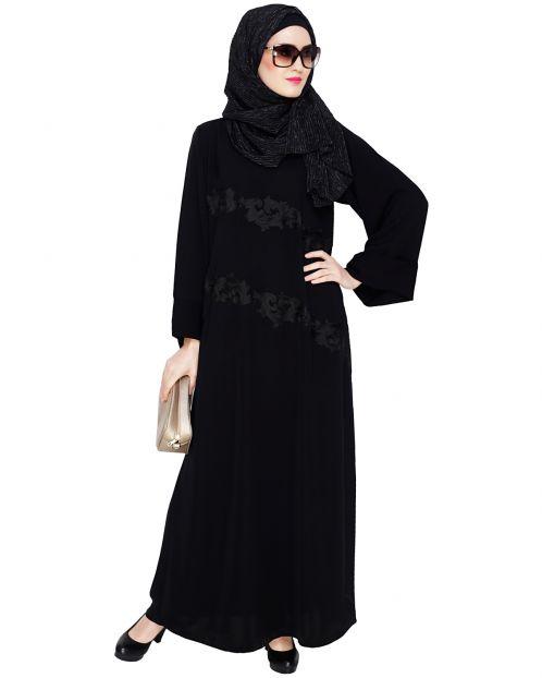 Fancy Black Embroidered Dubai Style Abaya