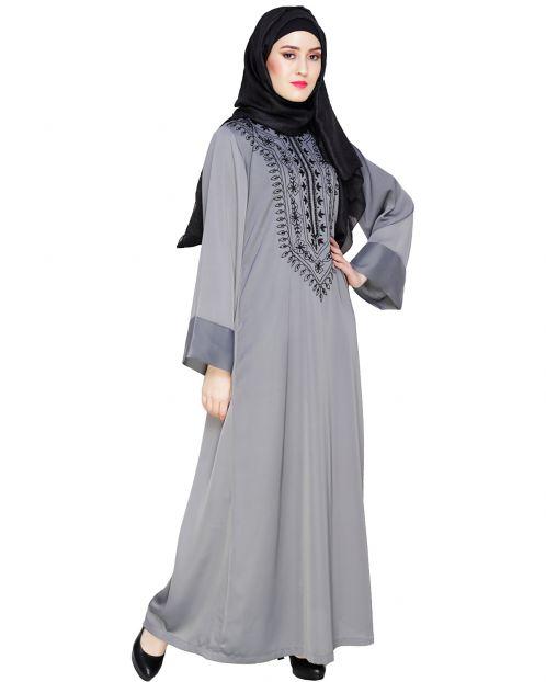 Floral Embellished Grey Dubai Style Abaya