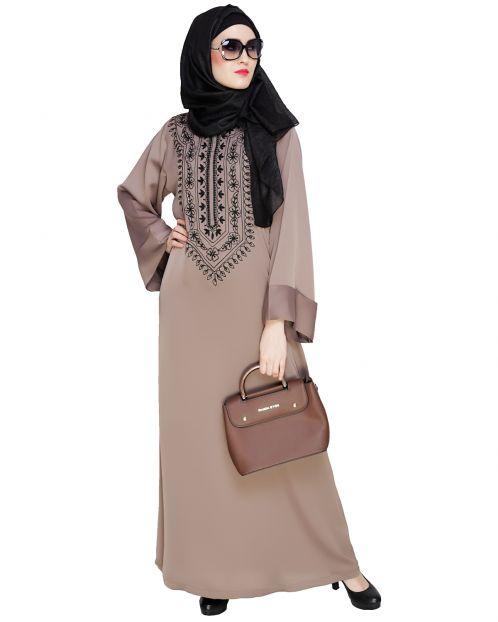 Floral Embellished Umber Brown Dubai Style Abaya