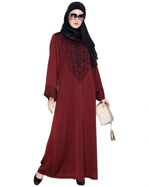 Floral Embellished Wine Dubai Style Abaya