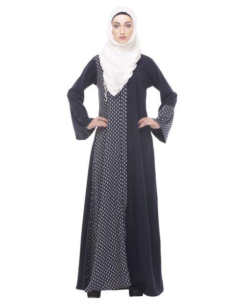 Classic Black Abaya with Printed Panel