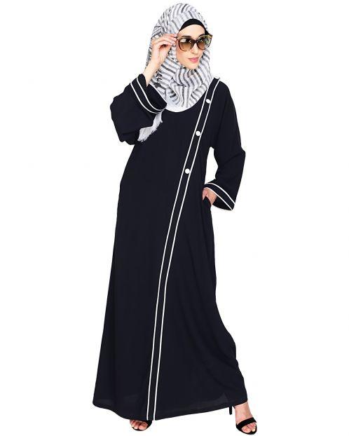 Intrigue Angrakha Dubai Style Black Abaya