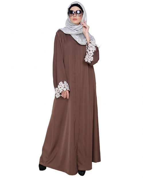 Dreamy Pearl Coffee Brown Dubai Style Abaya