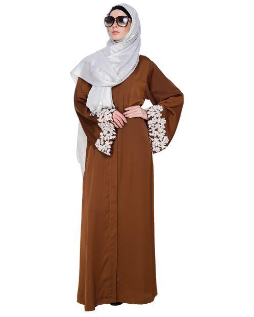 Dreamy Pearl Golden Brown Dubai Style Abaya