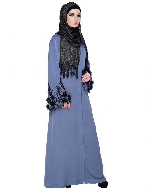 Regal Cornflower Blue Dubai style Abaya