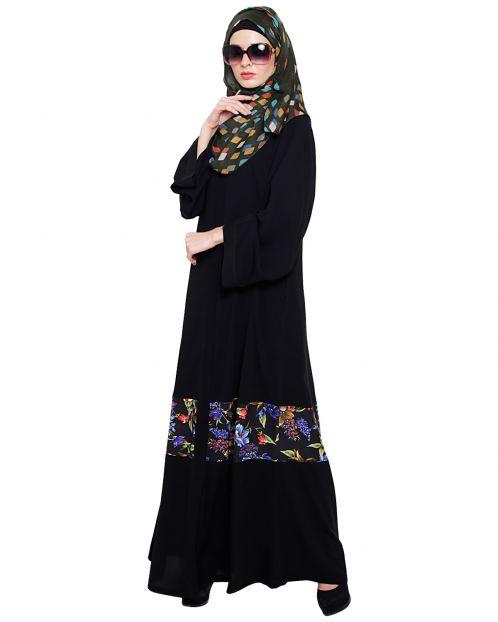 Elegant Black Printed Dubai Style Abaya