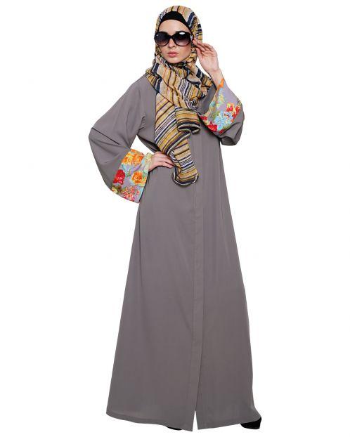 Graceful Grey Printed Dubai Style Abaya