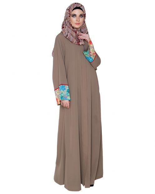 Graceful Ash Brown Printed Dubai Style Abaya