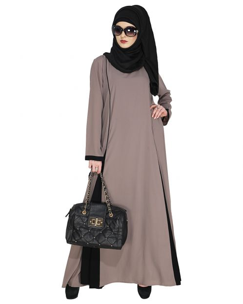 Inverted Pleat Fossil Grey Frock Abaya