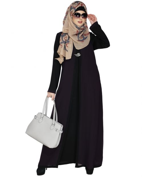 Layered Purple Maxi Dress Abaya