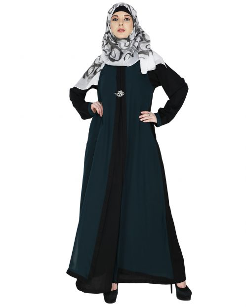 Layered Sacramento Green Maxi Dress Abaya