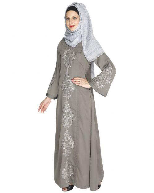 Prismatic Mirror Work Grey Abaya