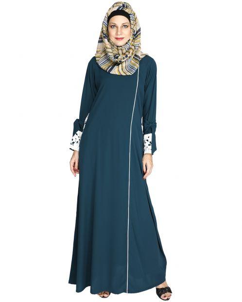 Bottle Green Lace & Bow Detailed Abaya