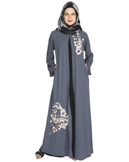Beckon Grey Jacket Style Abaya