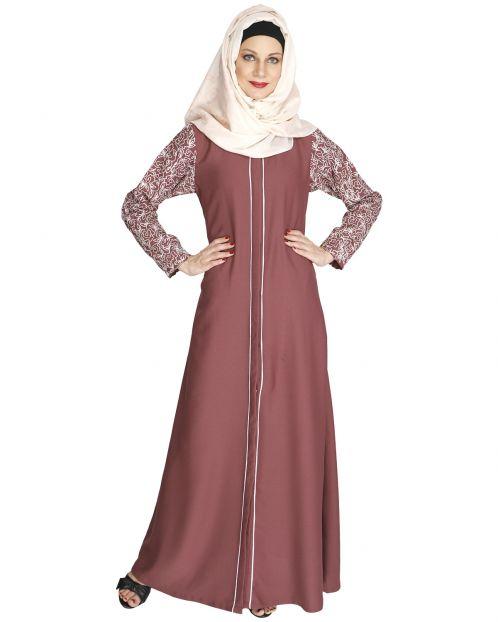 Role down pink Abaya