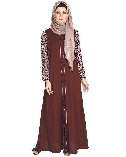 Role down Maroon Abaya