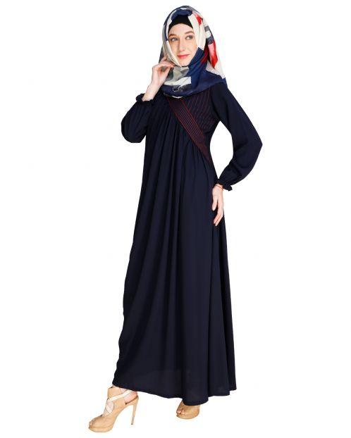 Gathered Blue Abaya