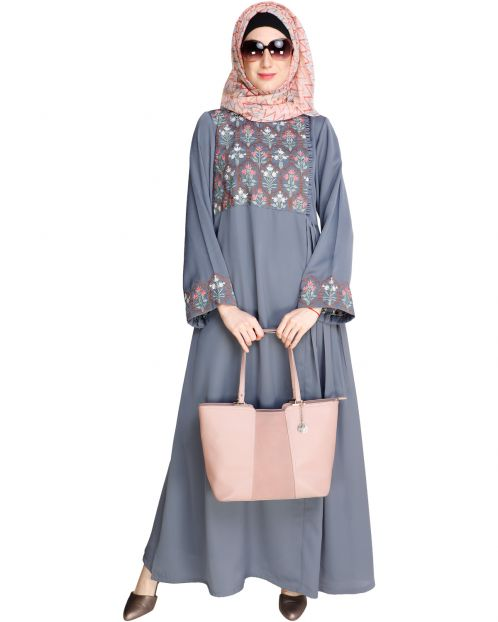 Majorelle Floral Blue Pleated Abaya