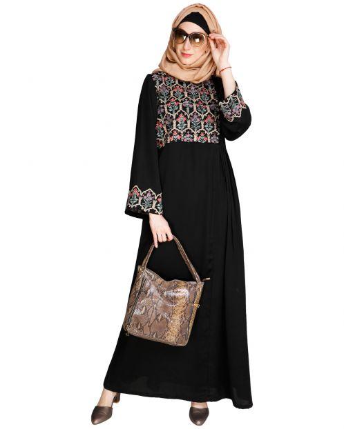 Majorelle Floral Black Pleated Abaya