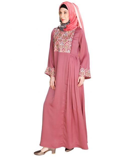 Majorelle Floral Onion Pink Pleated Abaya