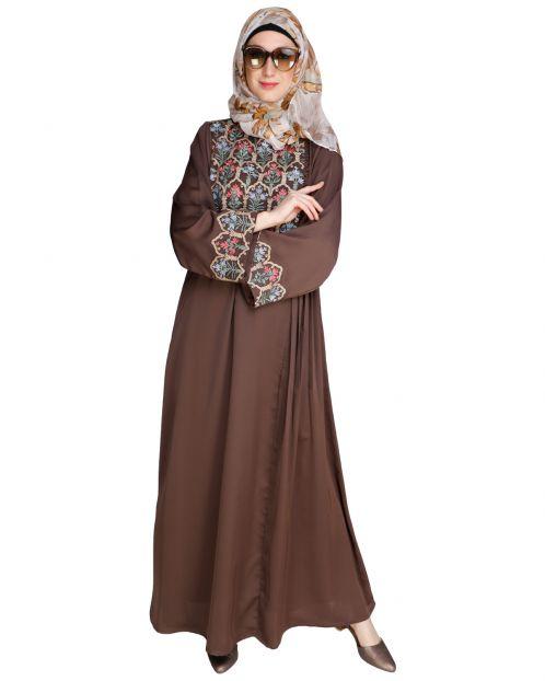 Majorelle Floral Oak Brown Pleated Abaya