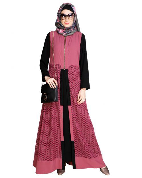 Lace Jacket Black Abaya