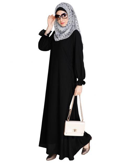 Gathered Sleeves Black Abaya