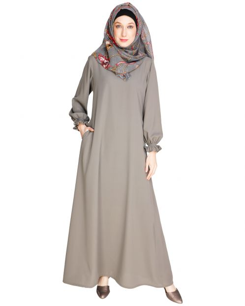 Gathered Sleeves Grey Abaya