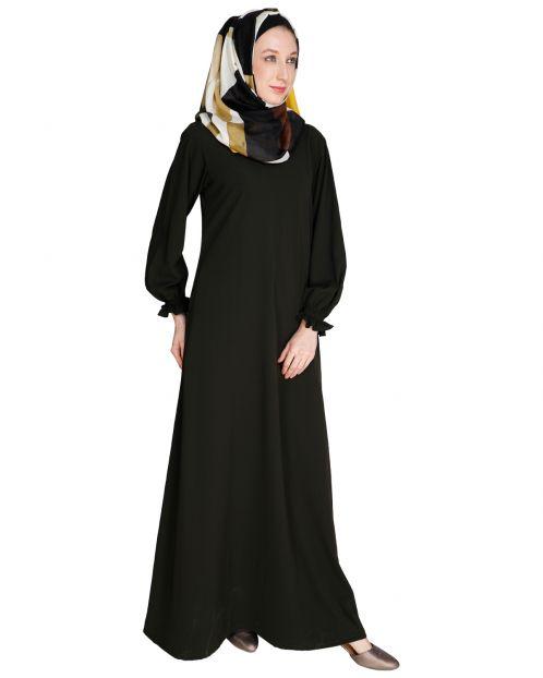 Gathered Sleeves Olive Abaya