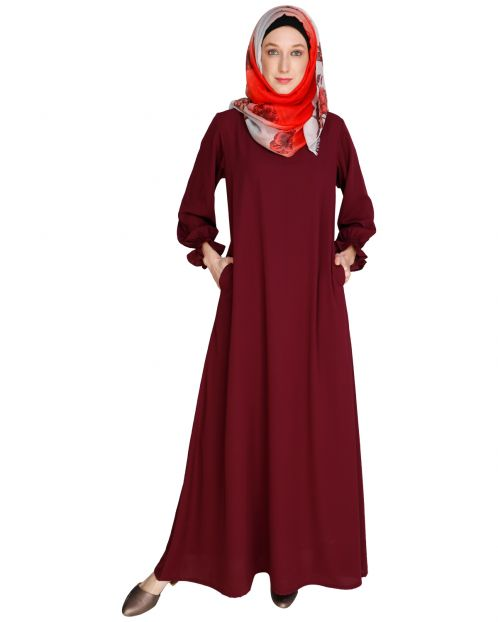 Gathered Sleeves Purple Abaya