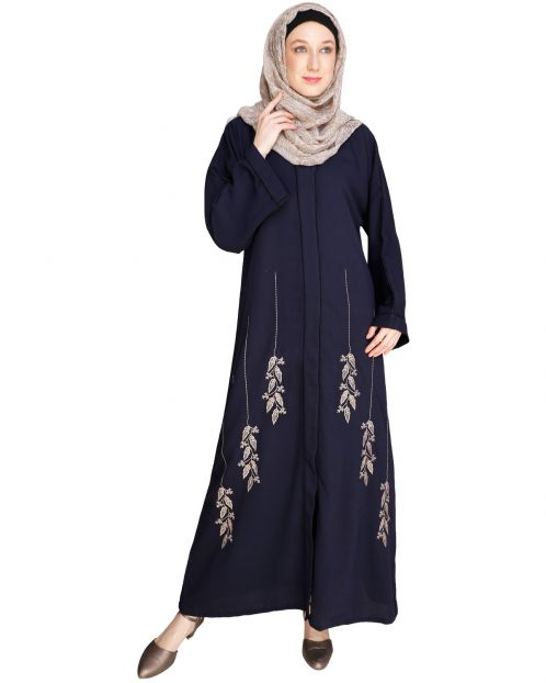 Classic Dubai Style Blue Abaya