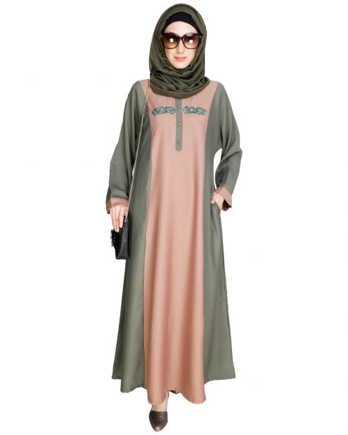 Panelled Dubai Style Green Abaya