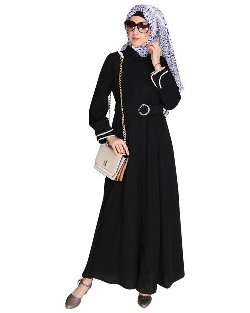 Shirt Style Black Maxi Dress