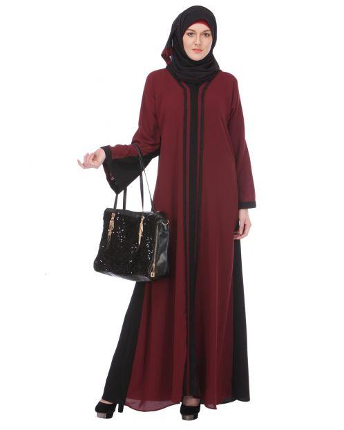 Maroon-Black Casual Abaya