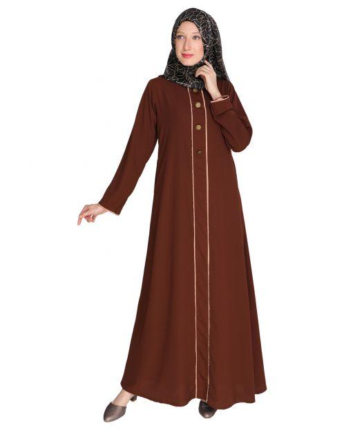 Sleek Dark Brown Abaya