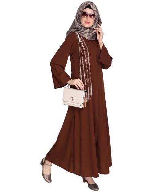 Elegant Brown Embroidered Abaya