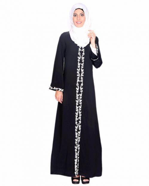 Black Abaya With Thread Embroidery