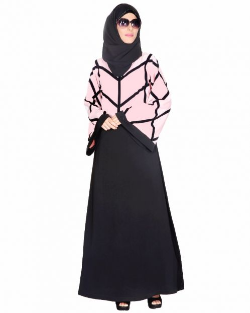 Pink And Black Abaya