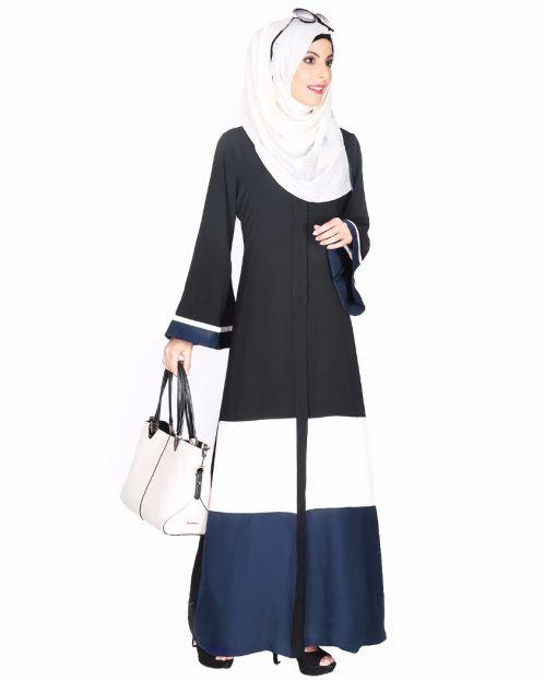 Black,White And Blue Abaya