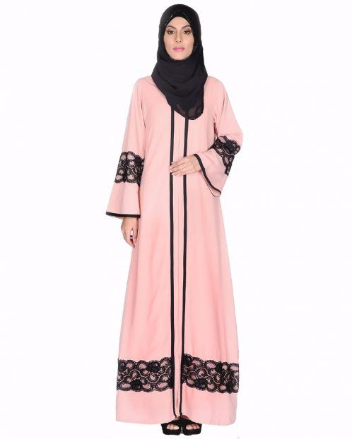 Peachish Pink Abaya With Black Lace Detaling
