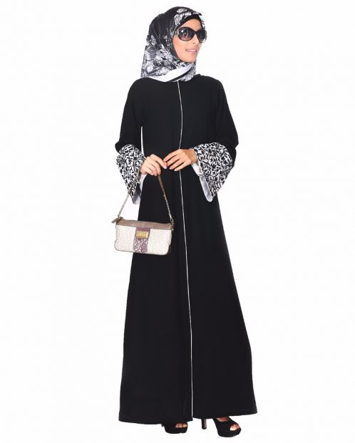 Black Abaya With Thread Embroidered Bell Sleeve