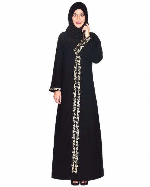 Gold Zari Embroidered Abaya