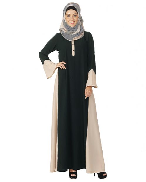 Dark Green and Beige Flared Abaya