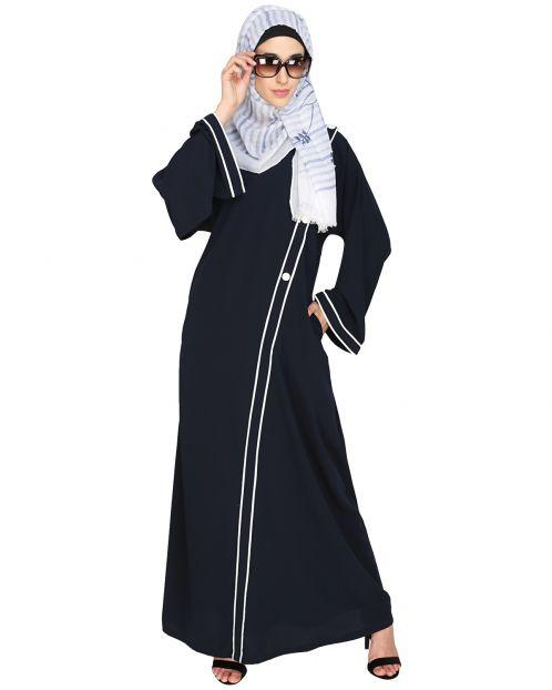 Intrigue Angrakha  Dubai Style Blue Abaya