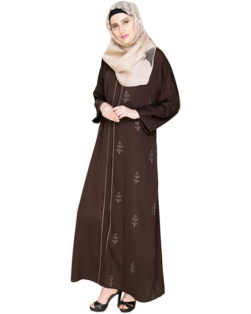 Botanic Dark Brown Beaded Dubai Style Abaya