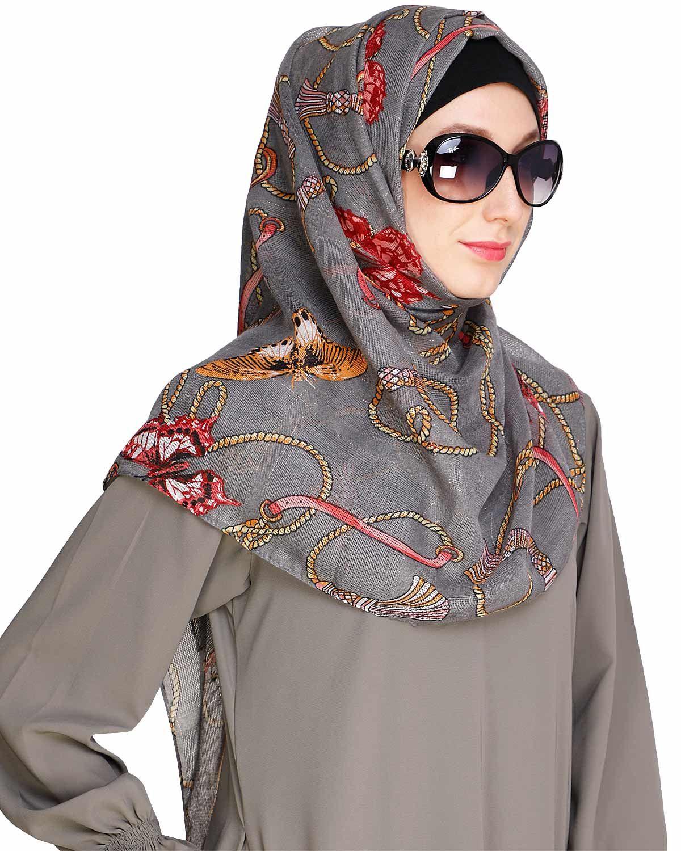 Kota silk Printed Grey Hijab