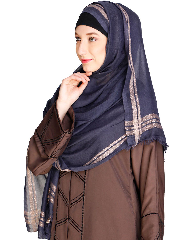 Golden Border Solid blue colour Hijab