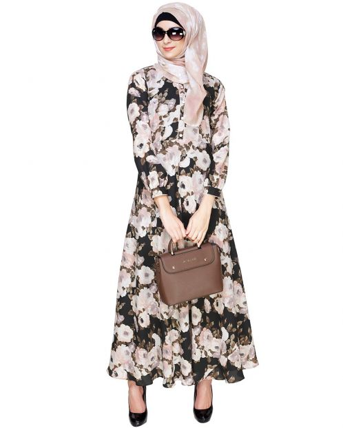 Black and Peach Floral Maxi Dress