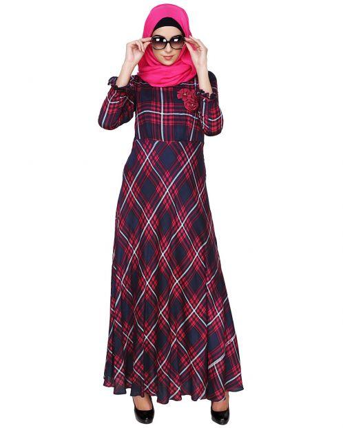 Dark Blue & Pink Checkered Maxi Dress