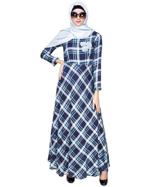 Blue Checkered Maxi Dress